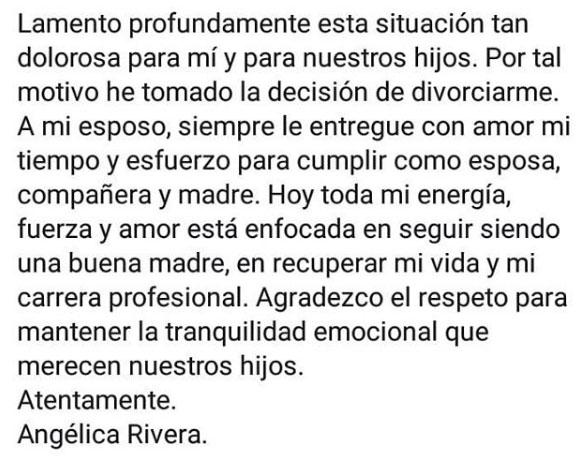 Angelica Rivera anuncia divorcio 4