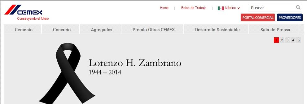 Así luce la página web de CEMEX, esta mañana.