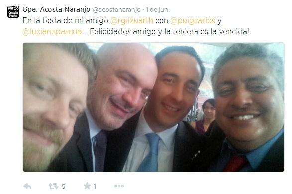 El director nacional del PRD, el periodista Carlos Puig y Luciano Pascoe, Director General de Estrategia Editorial en Grupo Salinas FOTO: Twitter.com/acostanaranjo