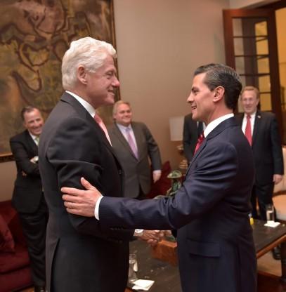 Peña recibió a Bill Clinton en Los Pinos acompañado del secretario de Relaciones Exteriores, José Antonio Meade / FOTO: presidencia.gob.mx