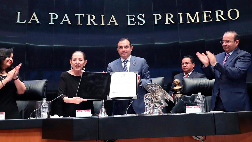 María Elena Chapa recibe reconocimiento del Senado