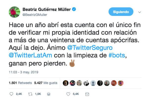 Gutiérrez Müller se despide de Twitter