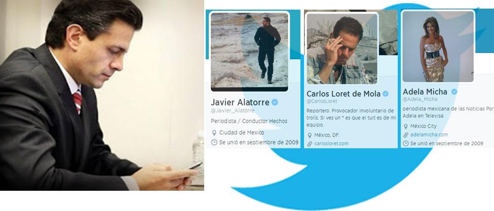 Los periodistas a los que les dio follow Peña Nieto