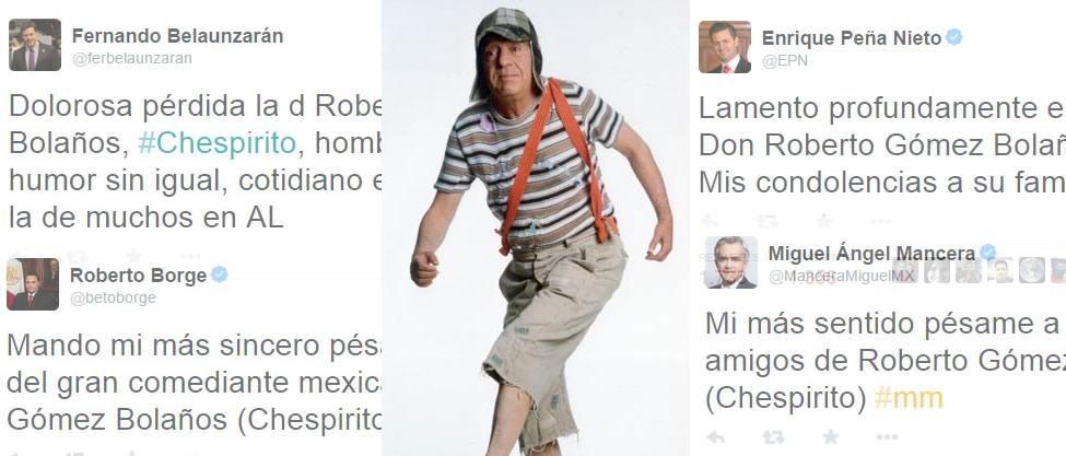 Políticos lamentan la muerte de Chespirito