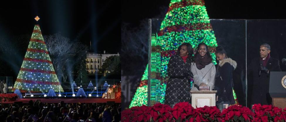 Obama enciende el árbol navideño de la Casa Blanca