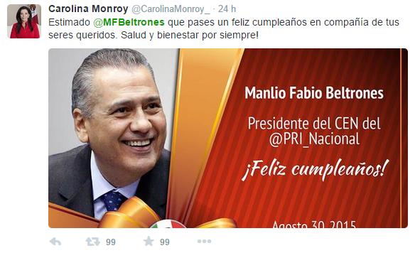 Felicitan a Manlio Fabio Beltrones en Twitter