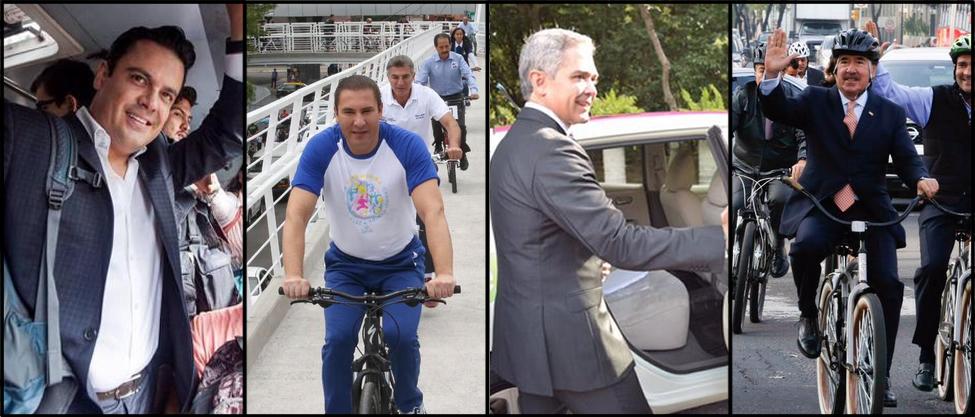 Políticos se suben al transporte público