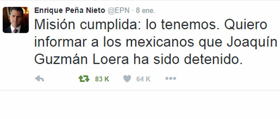 """Enrique Peña anuncia captura de """"El Chapo"""""""