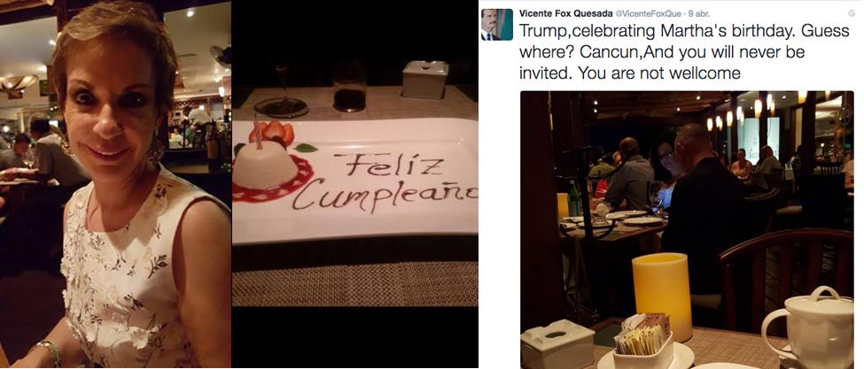 Vicente Fox festeja a Marta Sahagún y ataca a Trump